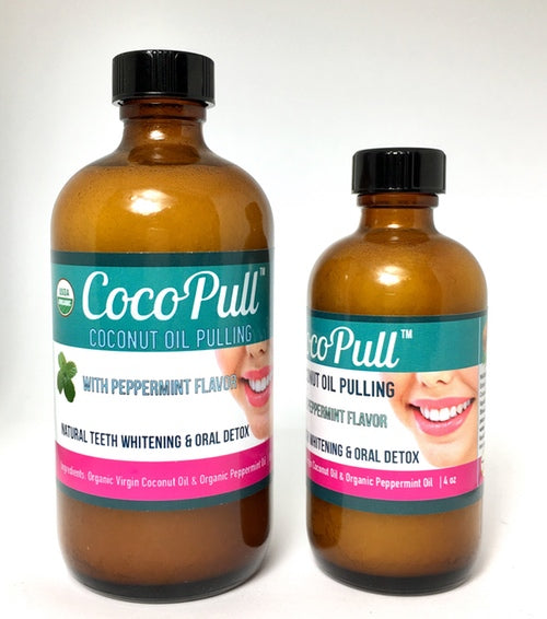 Cocopull Oil pulling 4 and 8 oz Bottle - natural teeth whitening in a bottle, peppermint flavor, vegan, usda organic
