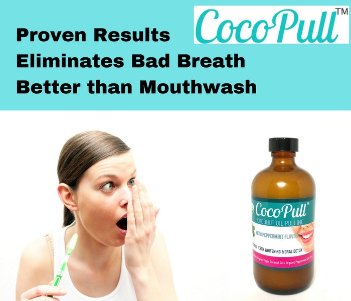 Cocopull oil pulling maintains fresh breath with coconut and peppermint oil
