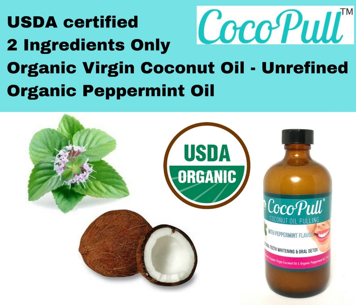 Coconut Oil Pulling for Natural Teeth Whitening Bottle Cocopull 4oz & 8oz