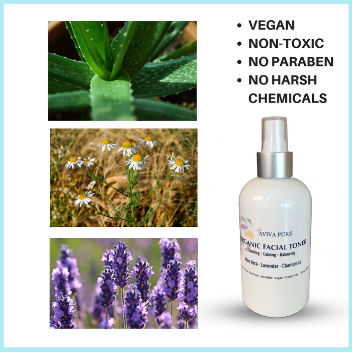 organic facial toner aviva pure with aloe vera, lavender and chamomile