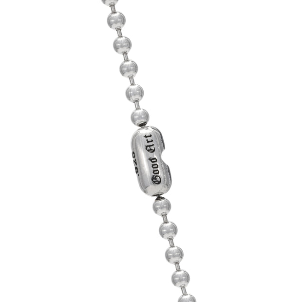 This is a photo of the #3 ball chain necklace with the smooth Goodart connector.