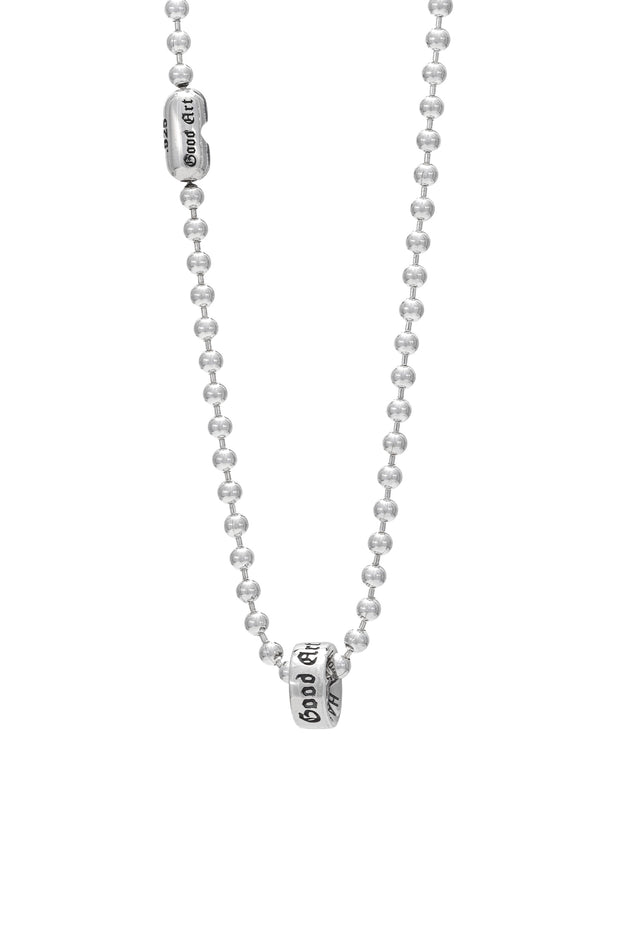 This is a photo of the #3 ball chain necklace with a smooth rondel on it.