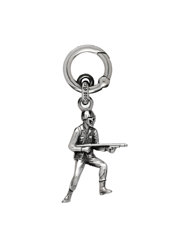 Silver Army Men Spring Ring Keychain