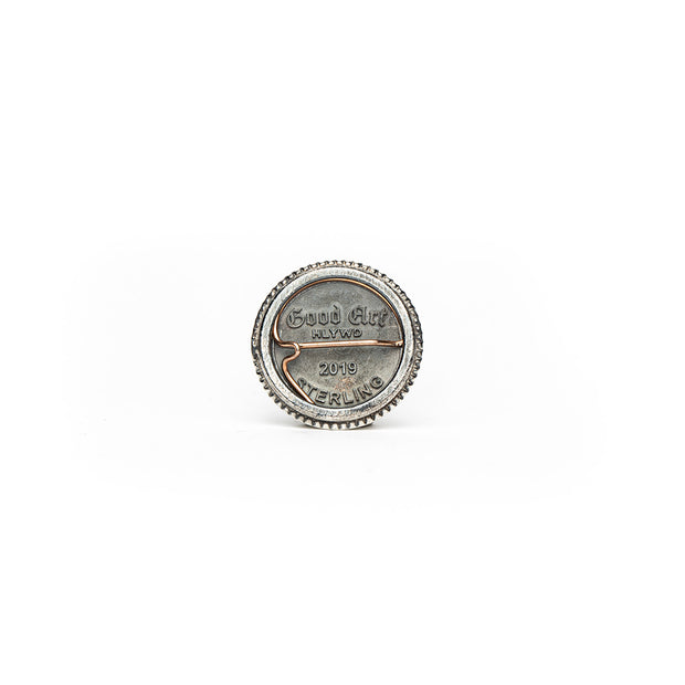 this photo shows the back of the pin with the Goodart trademark logo and sterling silver mark.