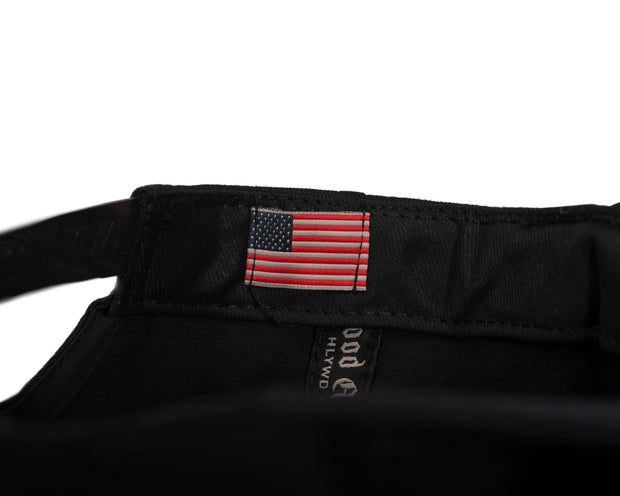 tiny American flag patch stitched in on inside of the hat
