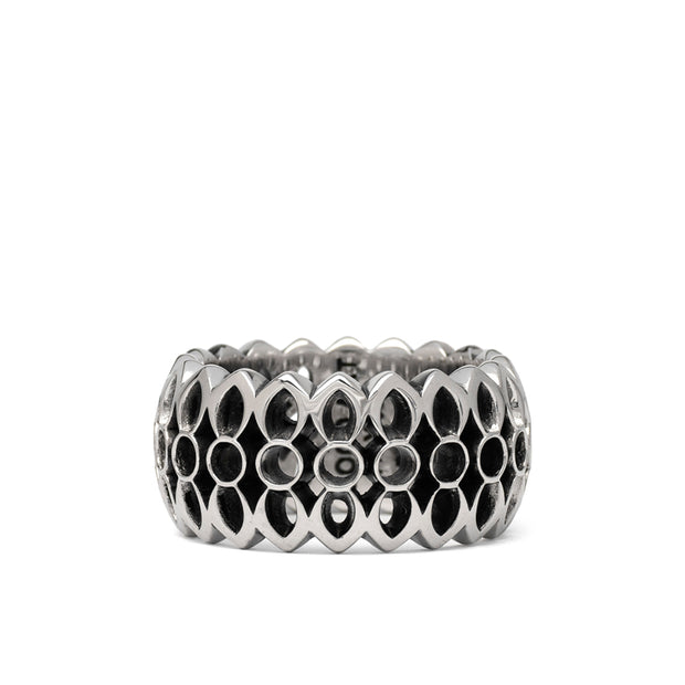 This is a photo sterling silver model 25 ring. Sometimes called the Rock Lock. The shaped is a pair of petals from the good art Hollywood rosette, the petals wrap around your finger in the smooth geometric cascade.