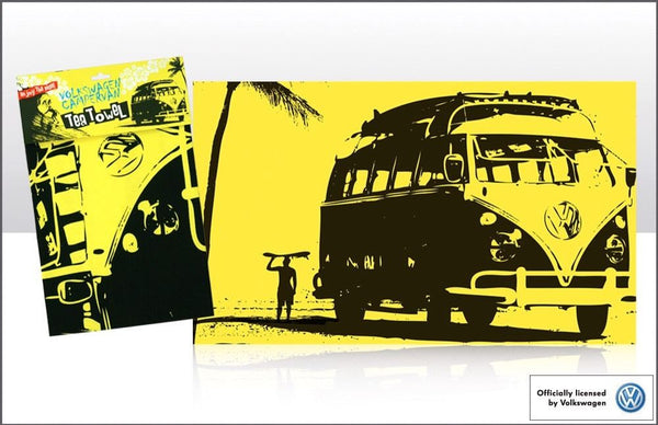 Genuine VW Officially Licensed Tea Towel- VW Camper/ Surf in yellow