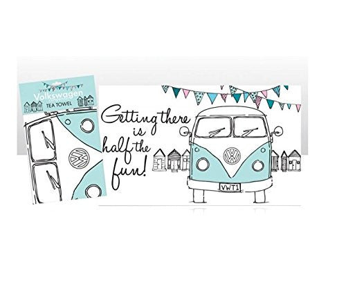 Genuine VW Officially Licensed Tea Towel- VW Camper getting there is half the fun