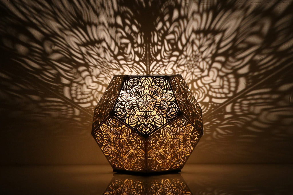 Dillon Forte Dodecahedron Table Light Gold Cozo