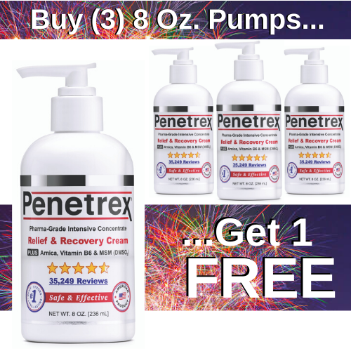 "<mark><i>SALE!</i></mark> Penetrex, 8 Oz. Pump (Pack of 4) — Pay for 3, Get ""The 4th"" Pump FREE!"