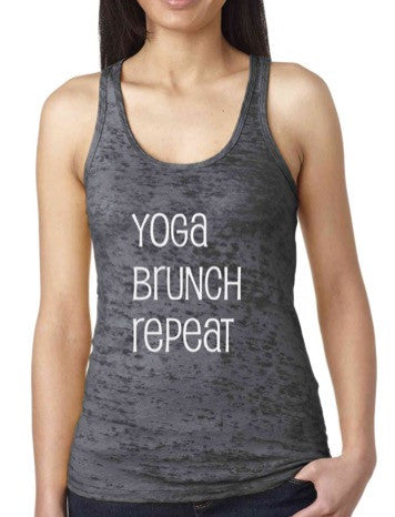 Yoga Brunch Repeat - Burnout Racerback