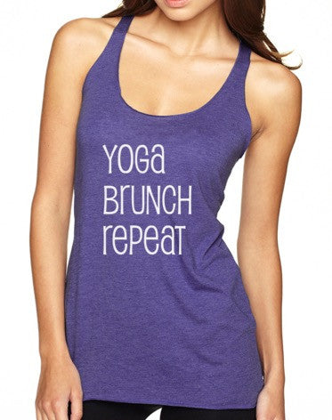 Yoga Brunch Repeat - Tri-Blend Racerback
