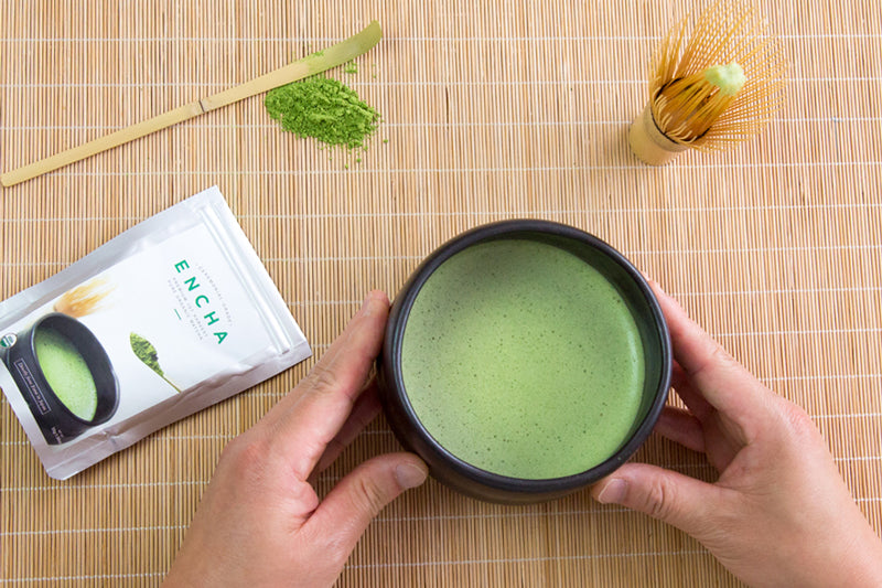 Matcha lover holding a chawan of ceremonial Encha tea