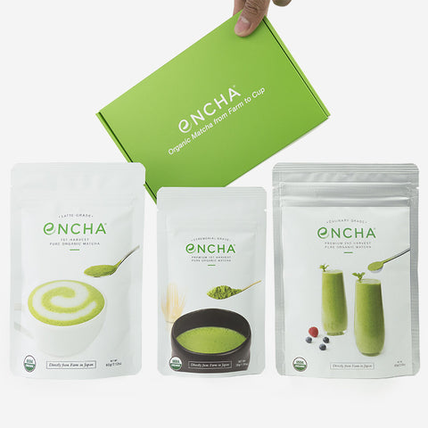Encha Ensemble all three grades of organic matcha for wholesale