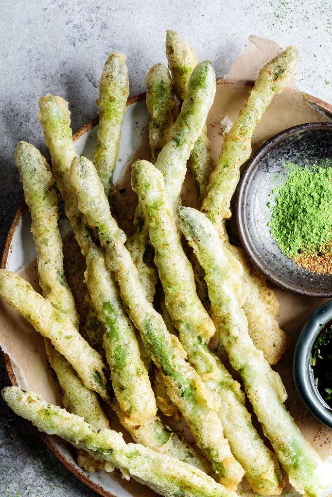Encha Matcha Salt with Tempura Asparagus