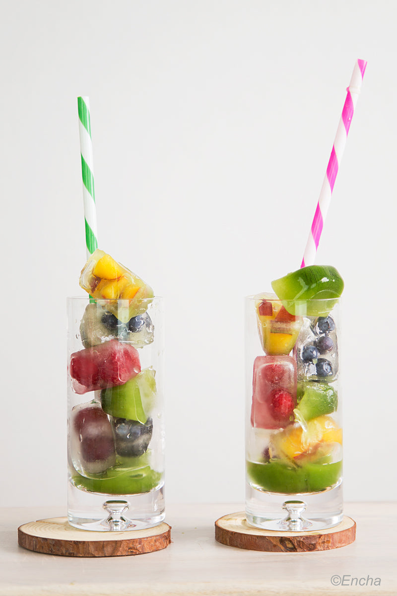 Iced Matcha Tea with Rainbow Fruit Ice Cubes Recipe Encha