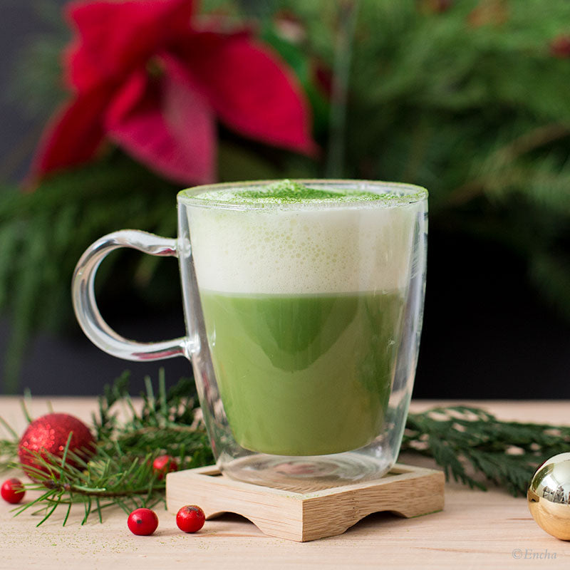 matcha double-layer latte: Almond milk vegan dairy-free Encha snow latte