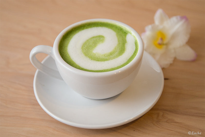 Matcha latte art Encha zen swirl with almond milk