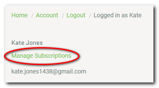 Click Manage Subscriptions