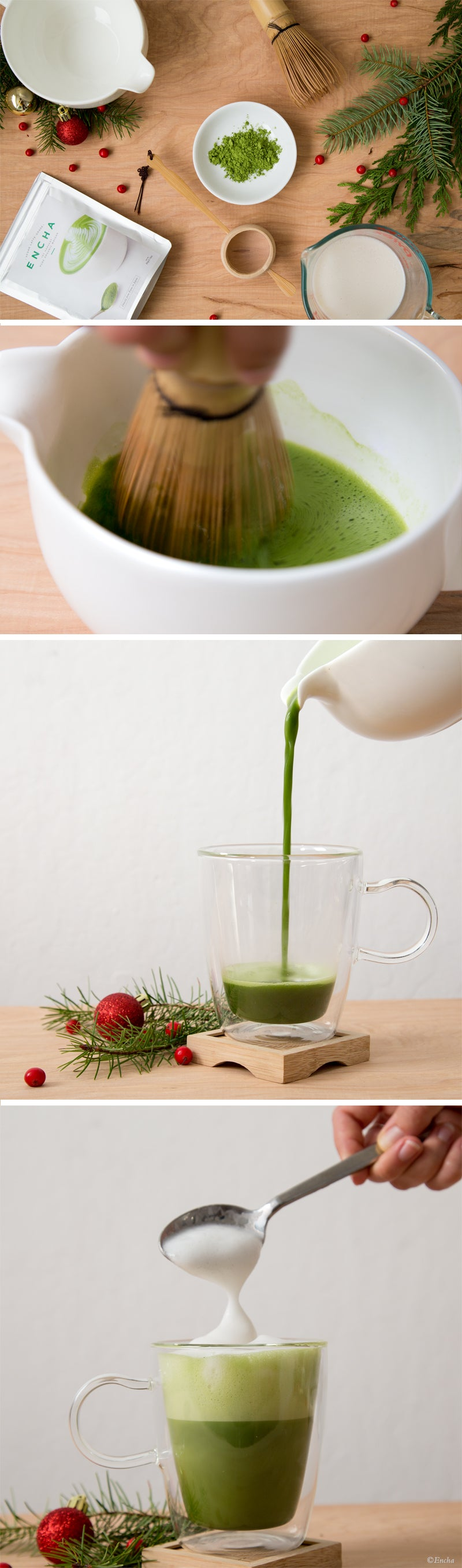 Matcha recipe: Double-layer almond milk organic matcha Encha snow latte