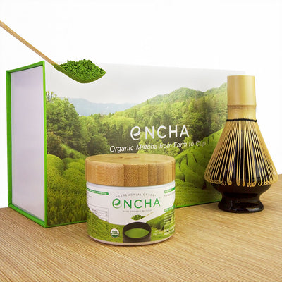 Matcha Set Ceremonial Encha in Glass Jar and Matcha Whisk Kit