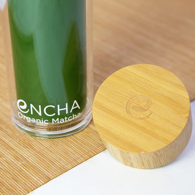 Encha Bamboo-Cap Glass Bottle with Iced Matcha