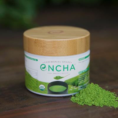 organic matcha powder in reusable glass jar Encha