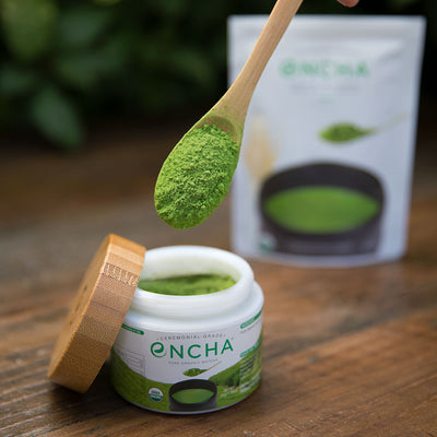 Refill organic matcha powder into a reusable glass jar Encha