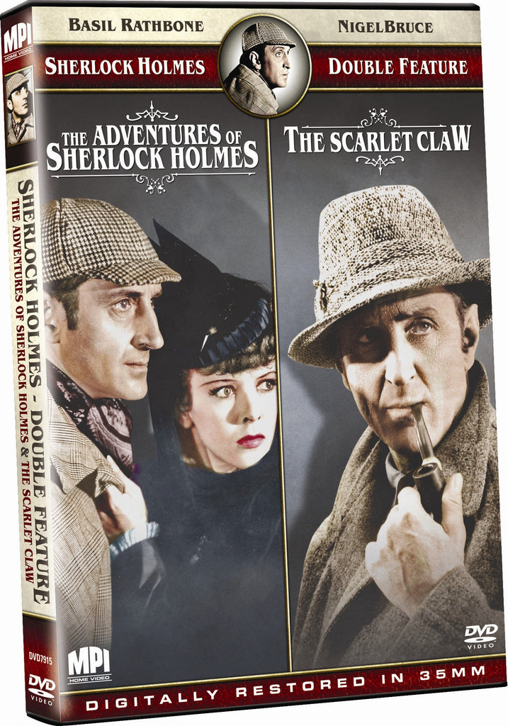 Sherlock Holmes Double Feature: The Adventures of Sherlock Holmes and The Scarlet Claw - Box Art