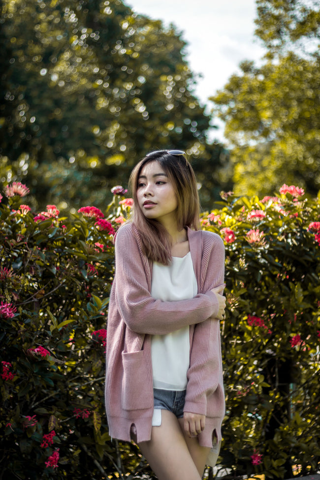 CASHMERE KNIT CARDIGAN (DUSTY PINK)