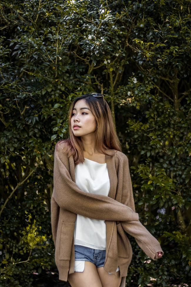 CASHMERE KNIT CARDIGAN (BROWN)