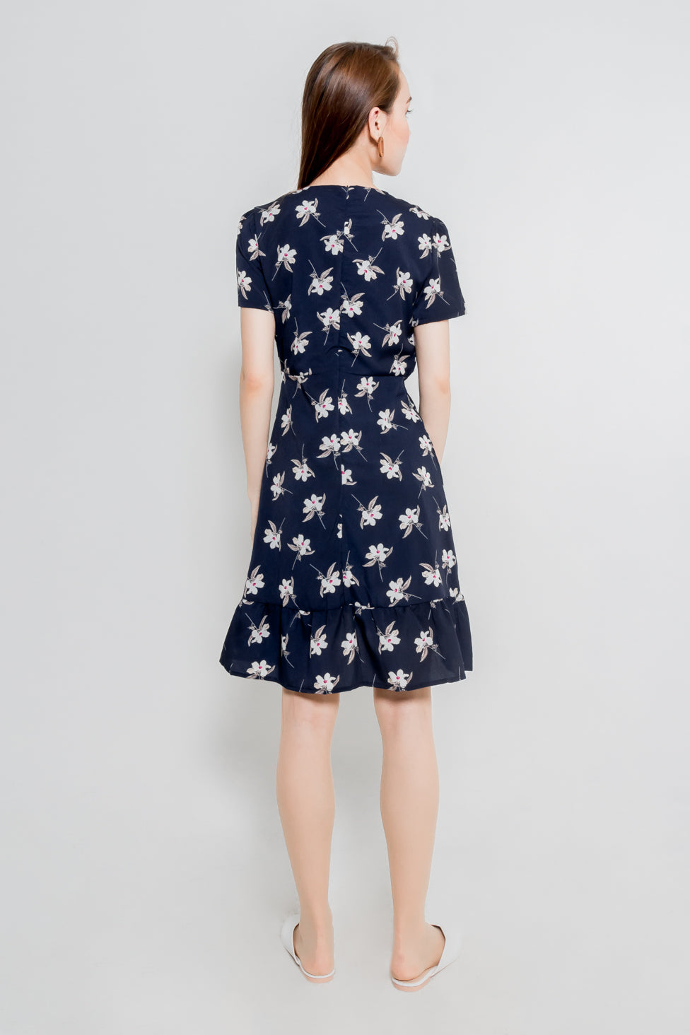 FLORAL RUFFLE WRAP DRESS (NAVY)