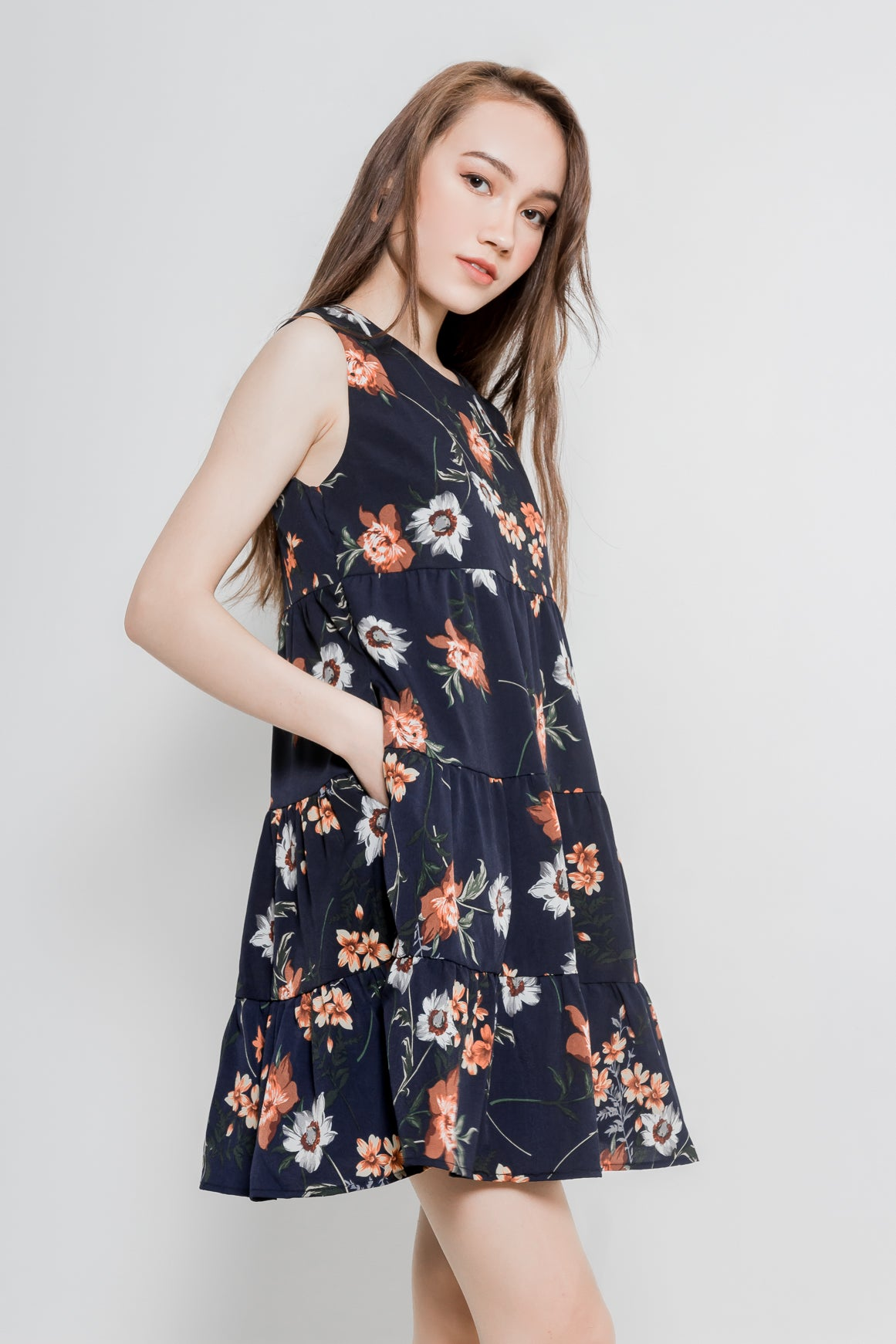 FLORAL TIERED BABYDOLL DRESS