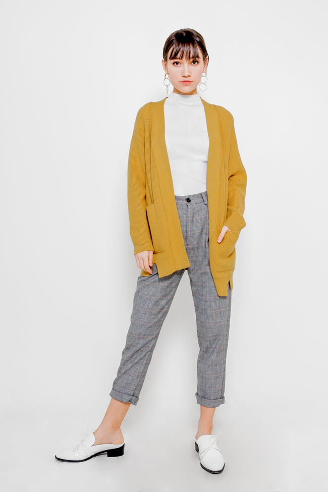 CASHMERE KNIT CARDIGAN (MUSTARD)