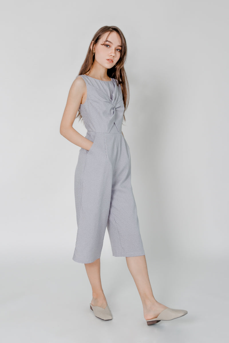 GINGHAM KNOTTED JUMPPSUIT (GREY)