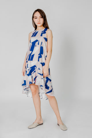 OFF SHOULDER BRUSH STROKES RUFFLE MIDI DRESS