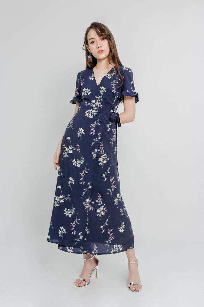 LAURA FLORAL WRAP MAXI DRESS (NAVY)