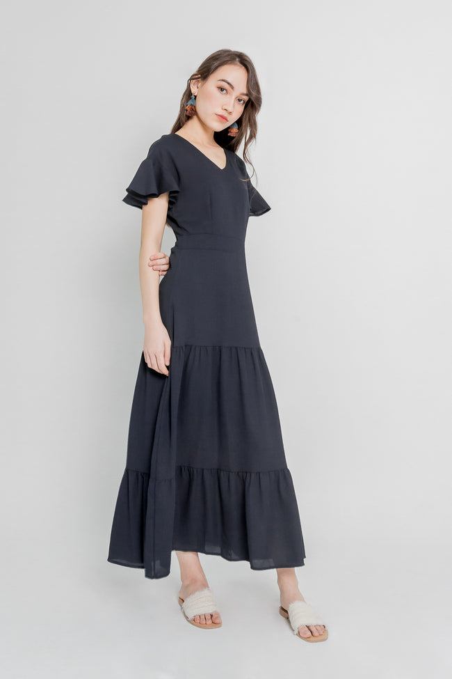 CARLY TIERED MAXI DRESS (NAVY)
