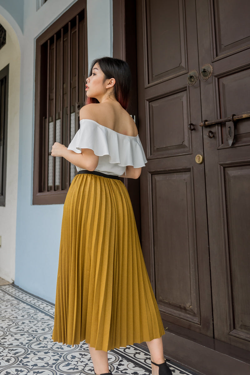 PLEATED MIDISKIRT (MUSTARD)