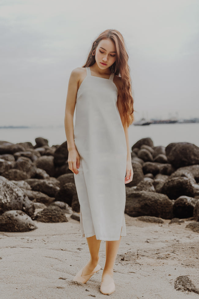 JODYN LINEN MIDI DRESS (WHITE) - PREORDER