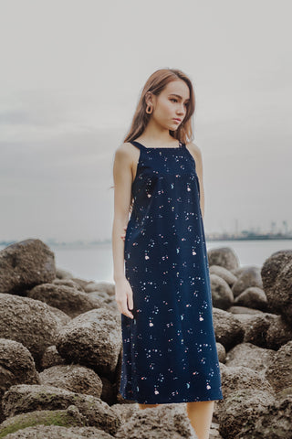 KINGSTON FLORAL WRAP MIDI DRESS (NAVY)