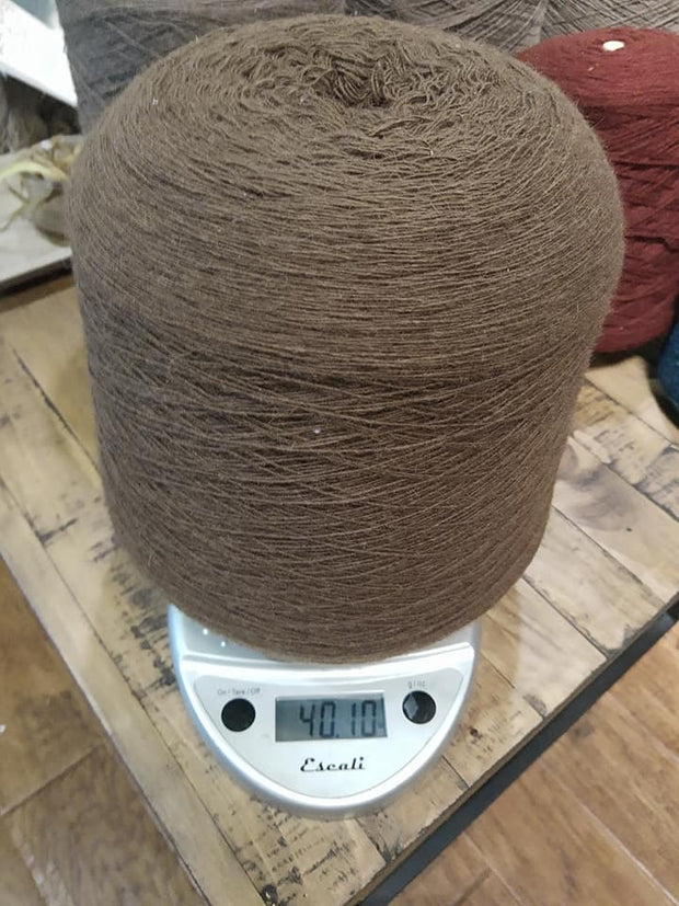 Random Cones of Bison yarns The Buffalo Wool Co. #4 Earth Lace sample SINGLE (unplyed) 85% bison 15%nylon 40 oz 16