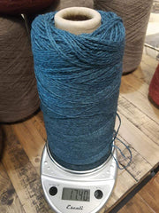 Random Cones of Bison yarns The Buffalo Wool Co. #2 Blue Prairie (Bison/silk) DK weight 1 lb 1500 yards approx