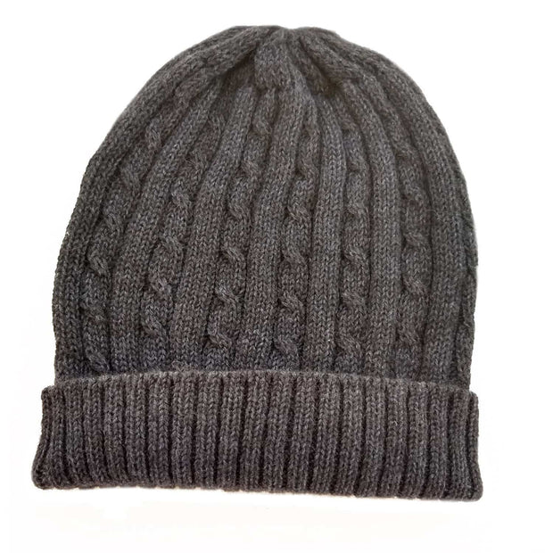 Cabled Bison/Silk Knitted Hat Bison Gear The Buffalo Wool Co. Charcoal