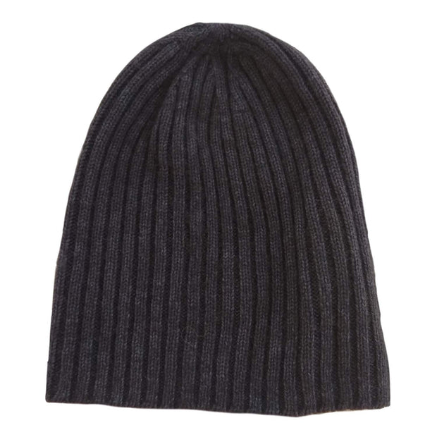 Ribbed Bison/Silk Knitted Hat Bison Gear The Buffalo Wool Co. Charcoal