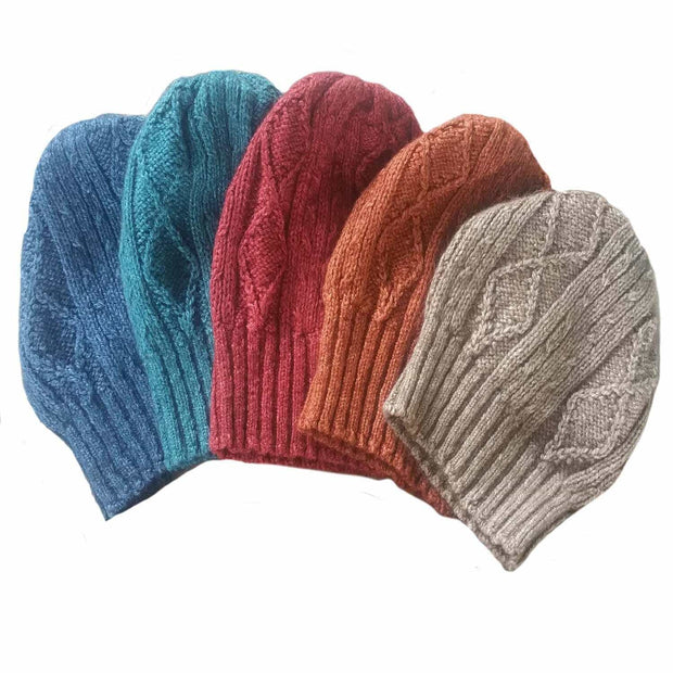 Diamond cabled knitted hat color selection