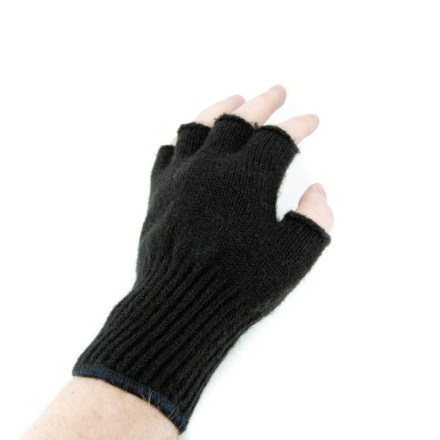Extreme Gear Bison Down Fingerless Gloves (Brown or Black) Bison Gear The Buffalo Wool Co. Small Black