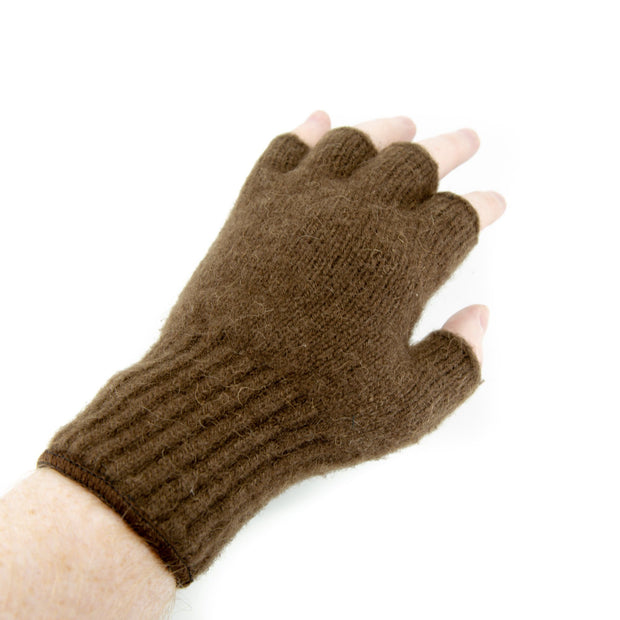 Extreme Gear Bison Down Fingerless Gloves (Brown or Black) Bison Gear The Buffalo Wool Co. Small Brown