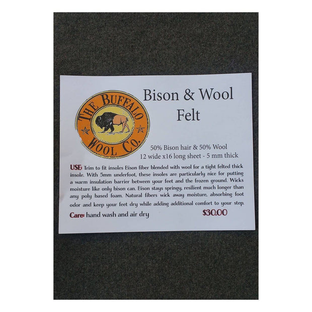 "Bison/Wool Insoles Bison Footwear The Buffalo Wool Co. 12x16"" sheet - create your own custom size"