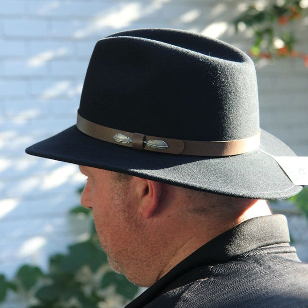 "The ""Outback"" in Black - Adventurer's Fedora Bison Gear The Buffalo Wool Co."
